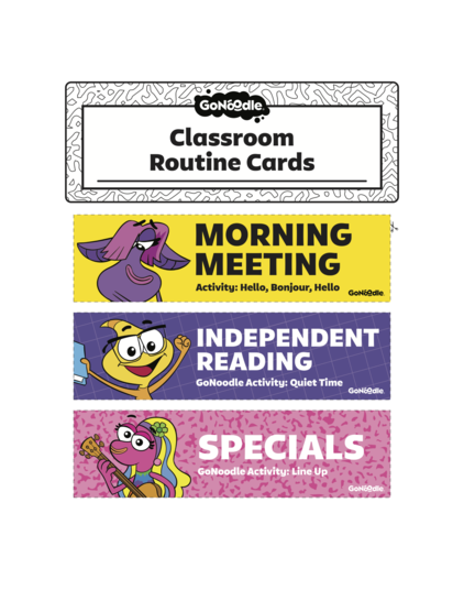 Classroom Routine Cards