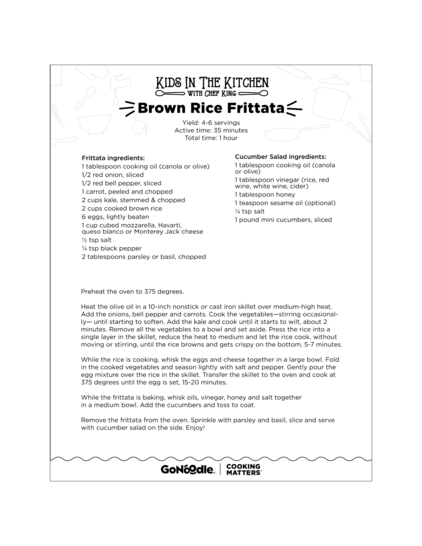 Kids in the Kitchen with Chef King Brown Rice Frittata